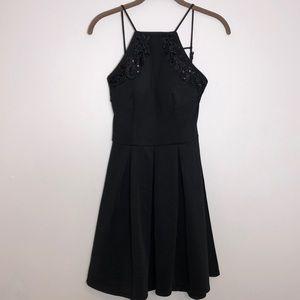 Black semi-formal halter dress.